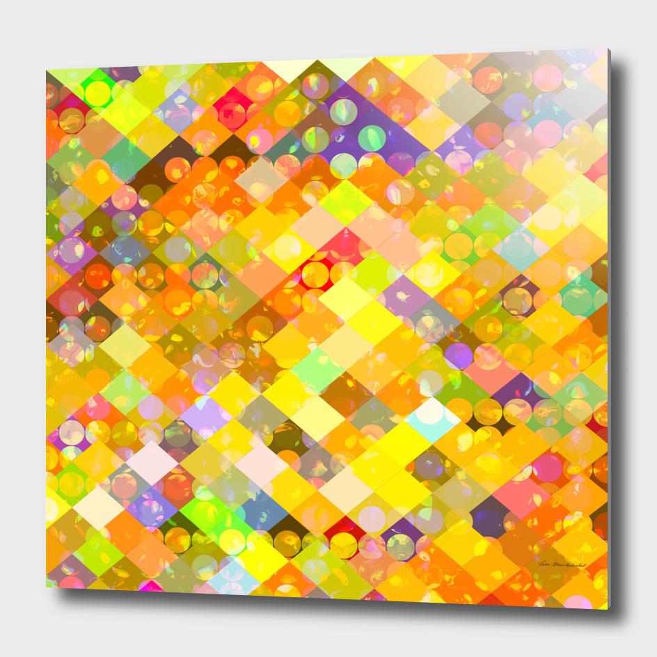 geometric square pixel and circle pattern in orange yellow
