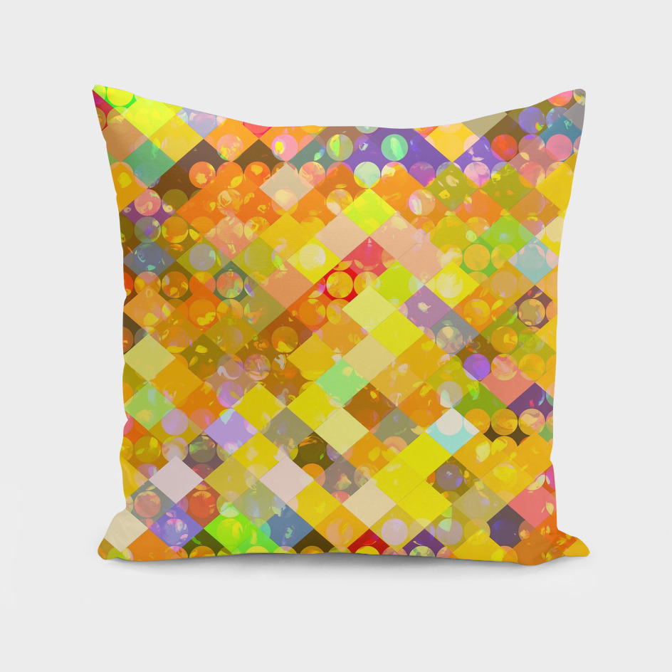geometric square pixel and circle pattern in orange yellow