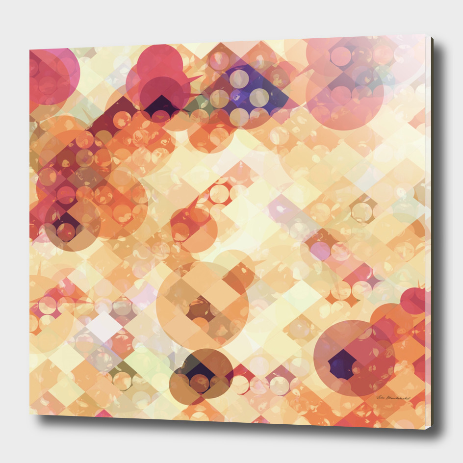 geometric square pixel and circle pattern abstract in orange
