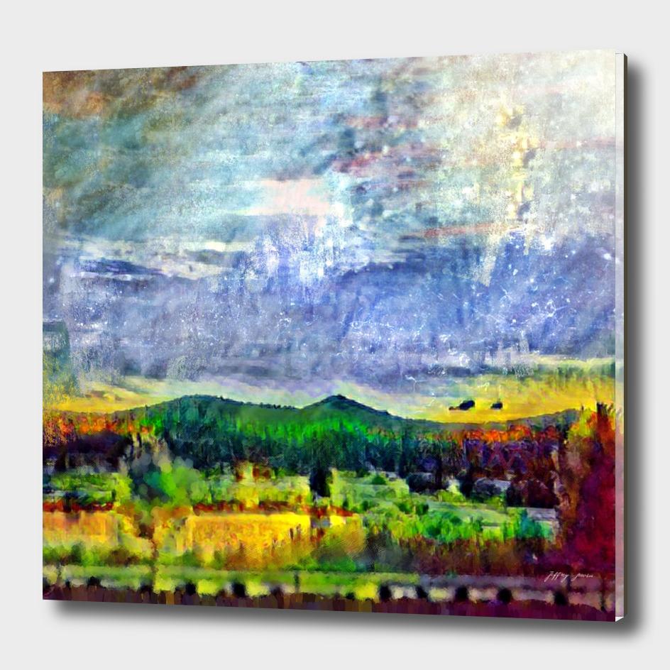 From Sunriver: Mt. Bachelor (Salt Watercolor)