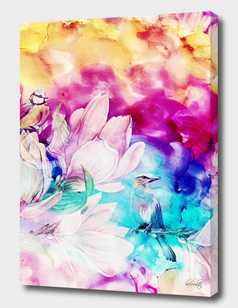 floral birds alcohol inks