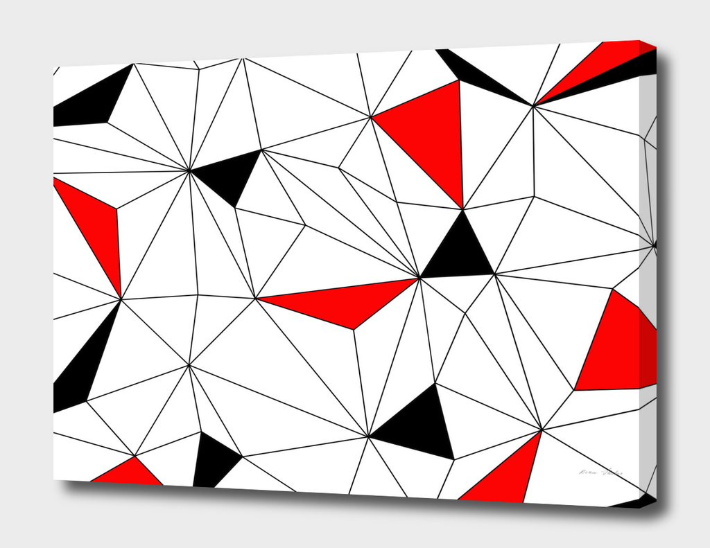 Abstract geometric pattern - red, black and white.