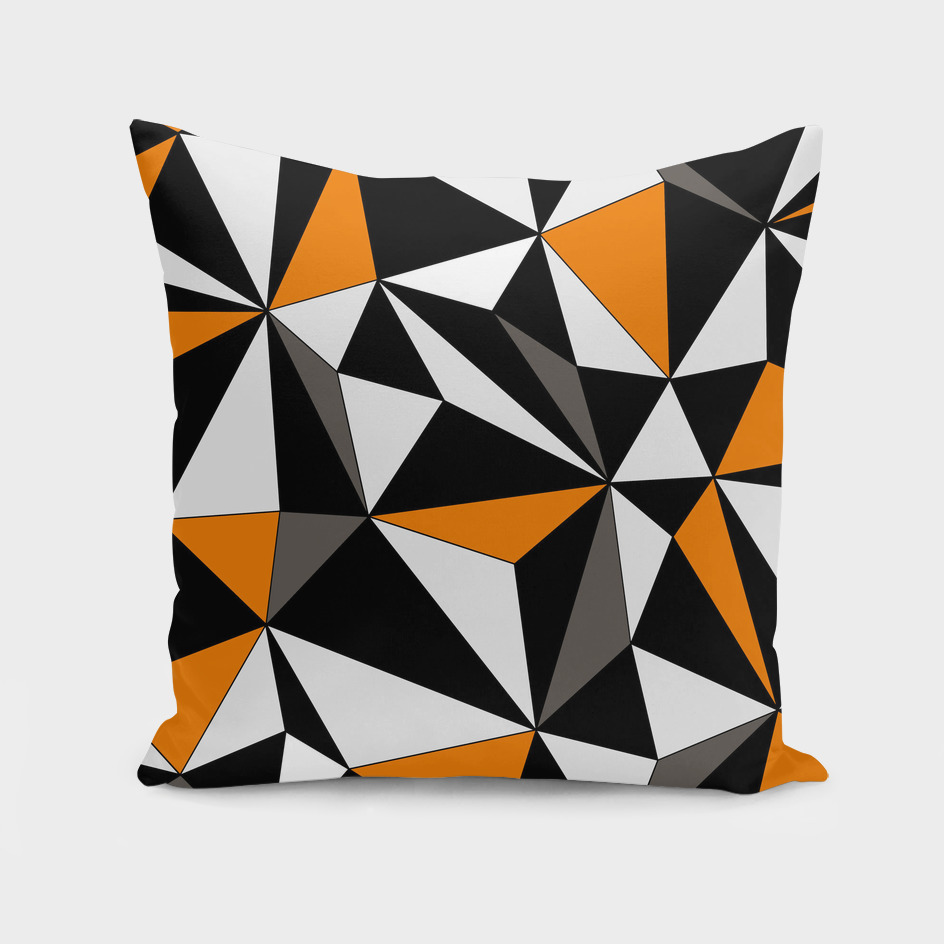 Abstract geometric pattern - orange, gray, black and white.