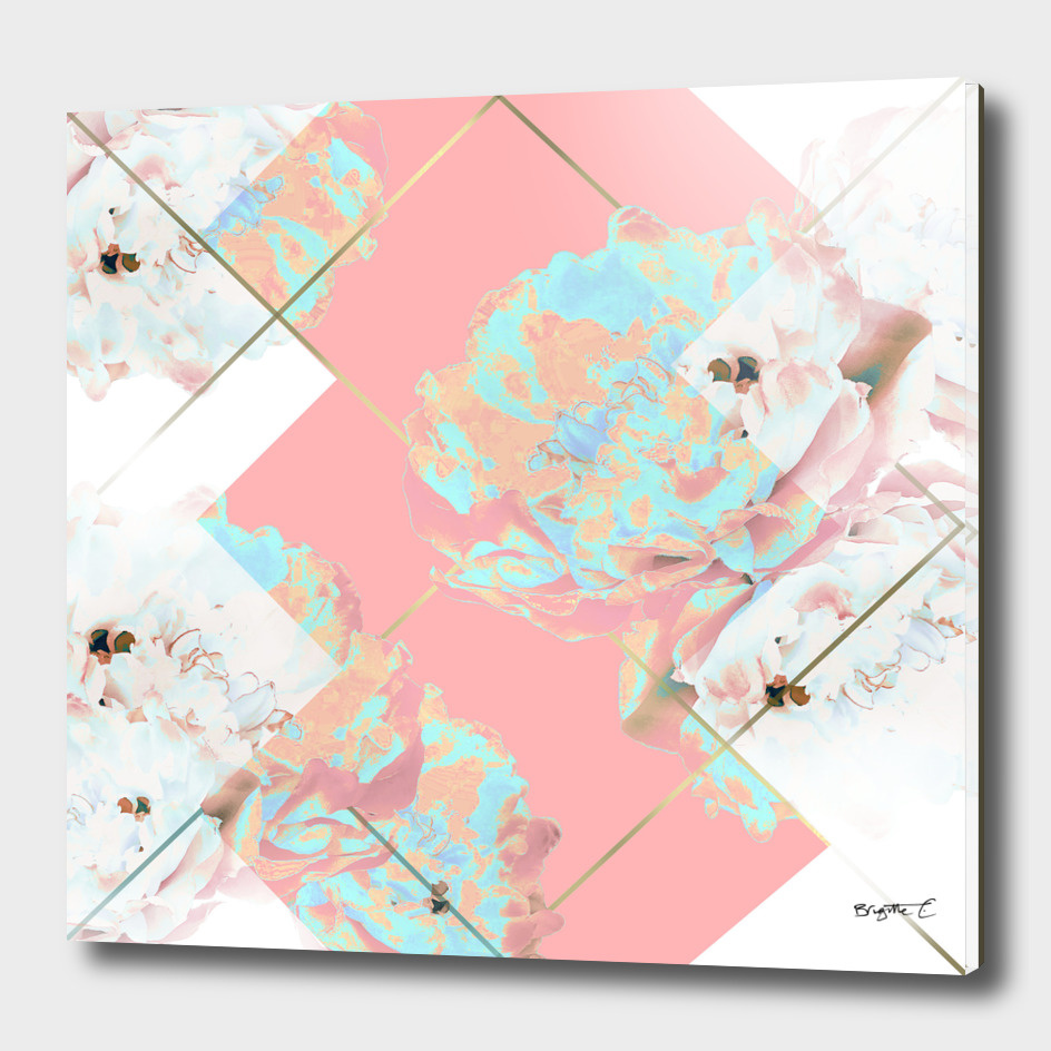 Abstract Blush Geometric Peonies Flowers Design