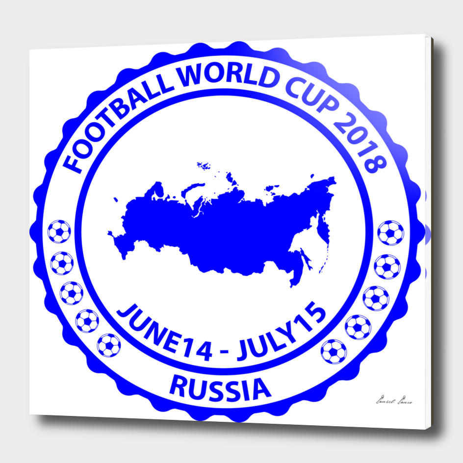 Football World Cup 2018 stamp blue