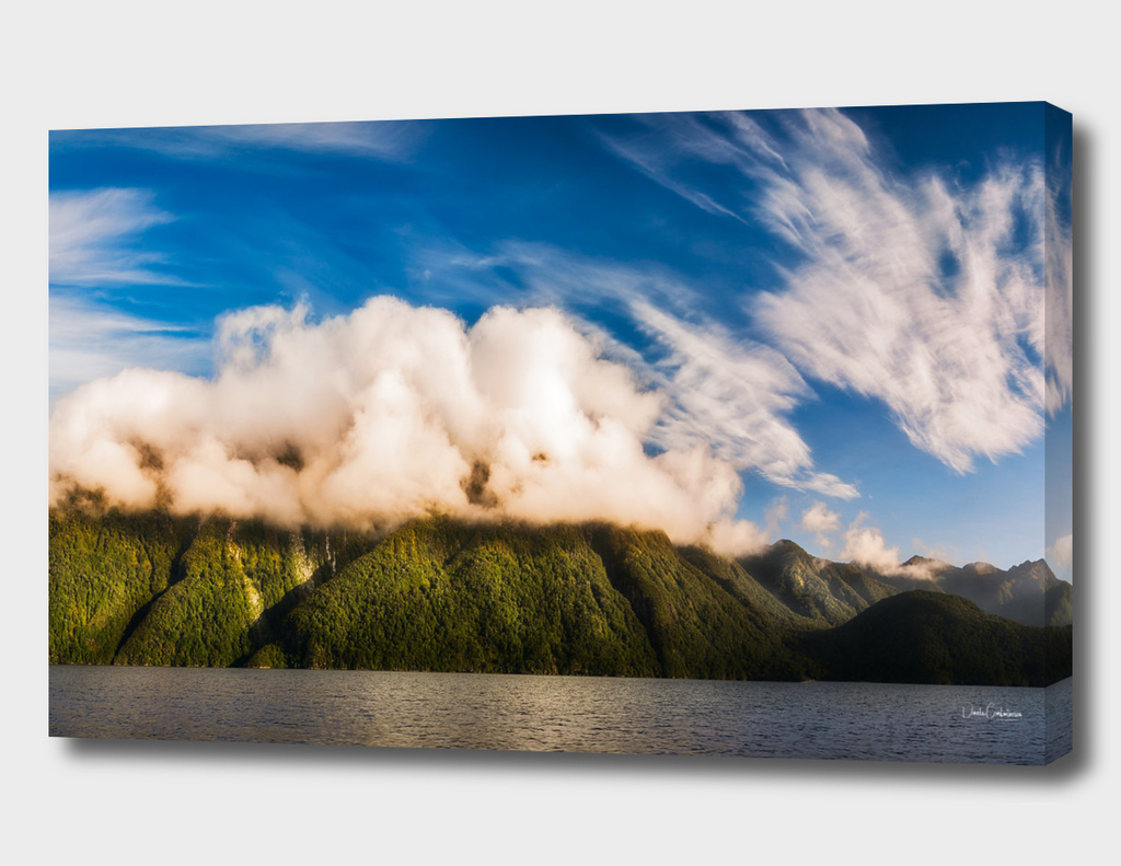 Amazing cloud formation at Lake Manapouri in New Zealand
