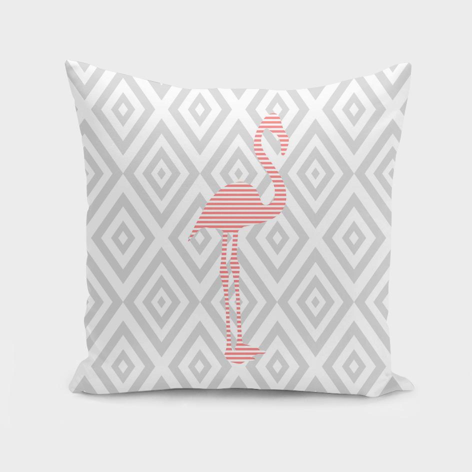 Flamingo - abstract geometric pattern - gray.