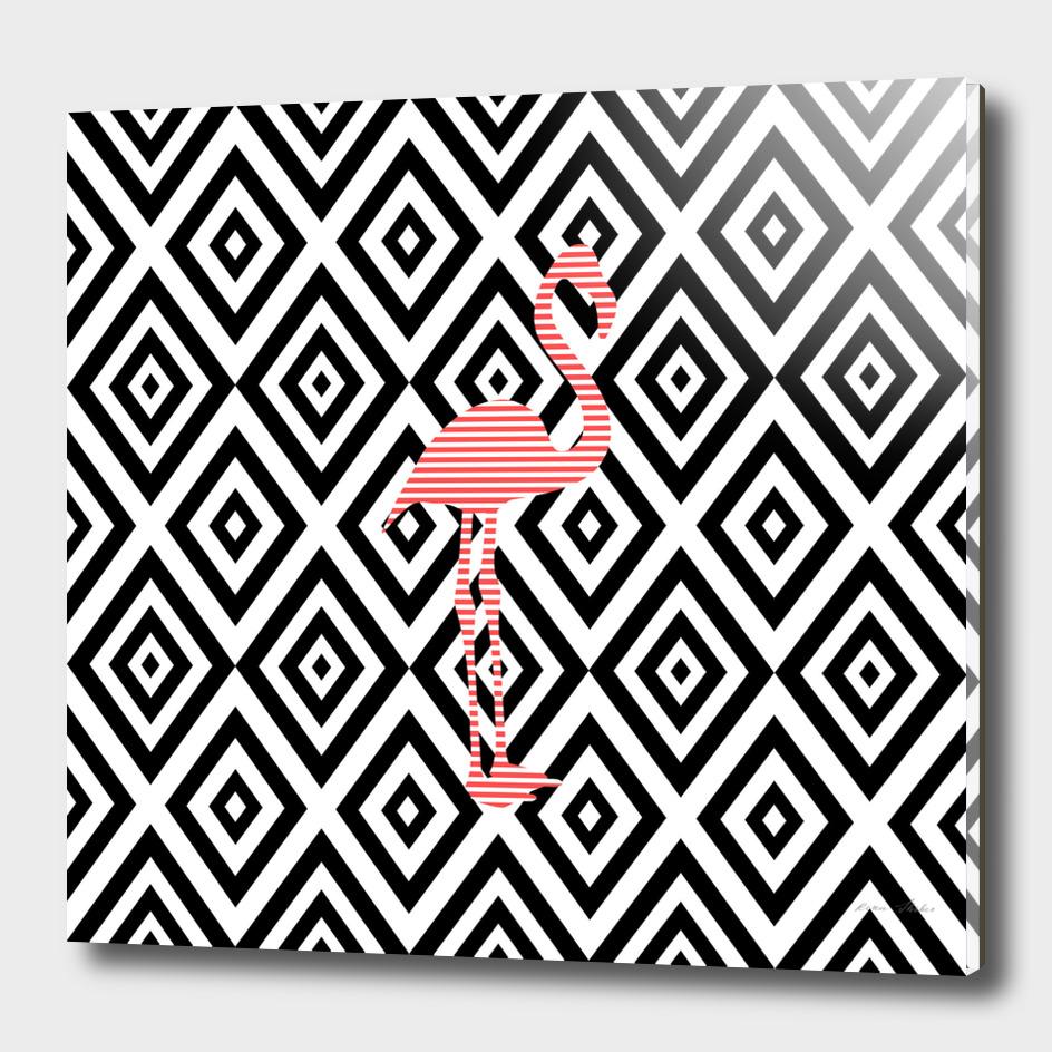 Flamingo - abstract geometric pattern.