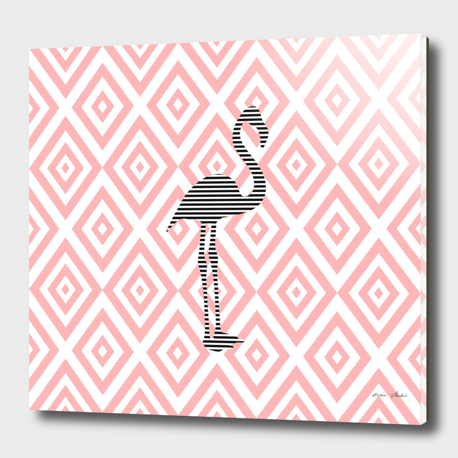 Flamingo - abstract geometric pattern - pink.