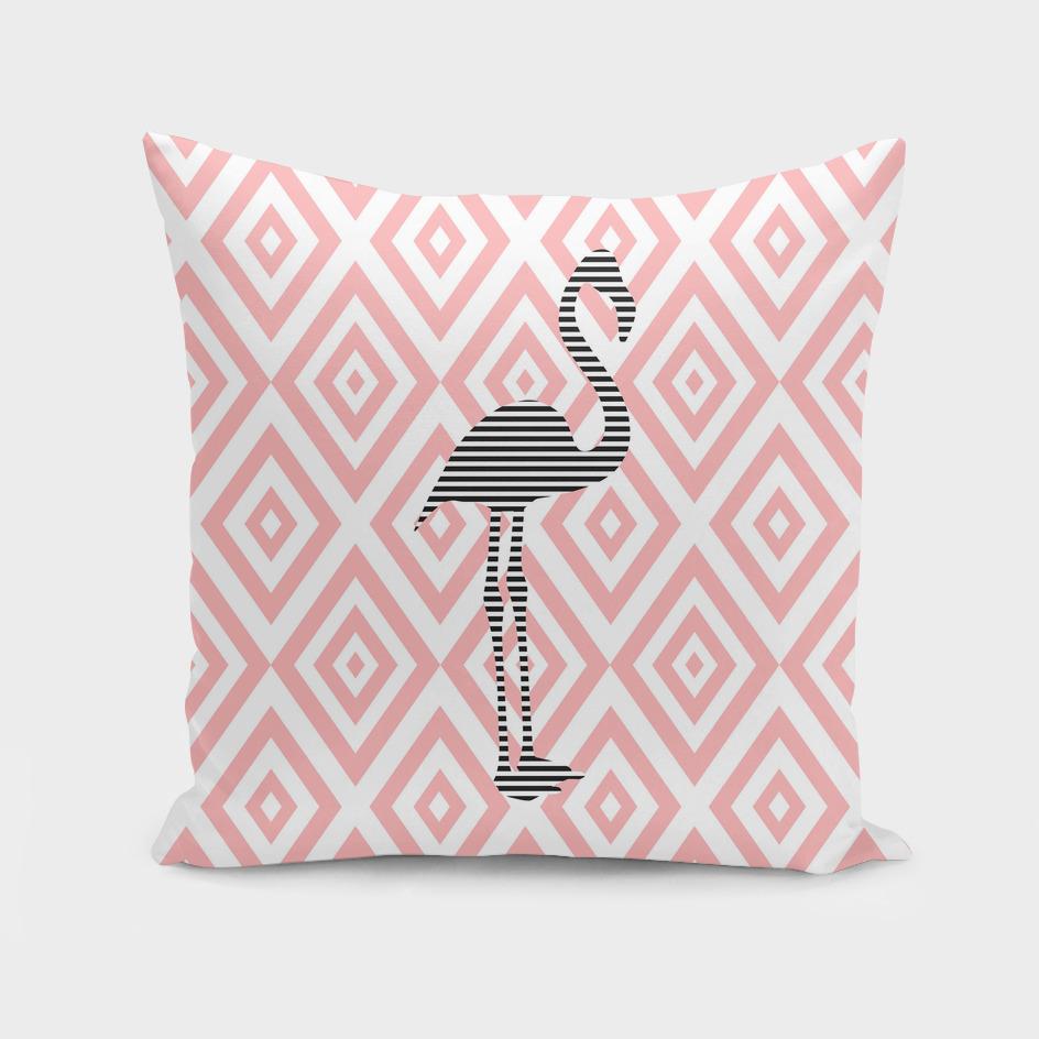 Flamingo - abstract geometric pattern - pink.