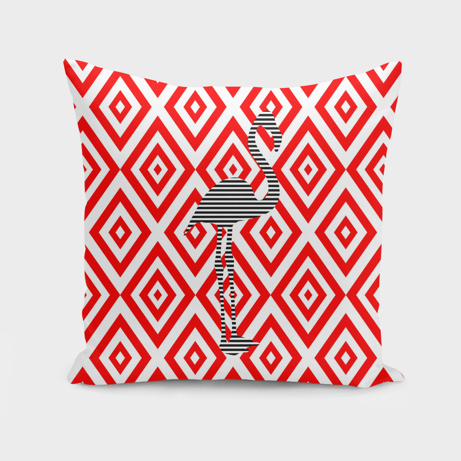 Flamingo - abstract geometric pattern - red.