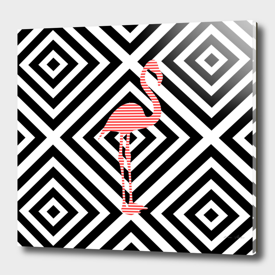 Flamingo - abstract geometric pattern.
