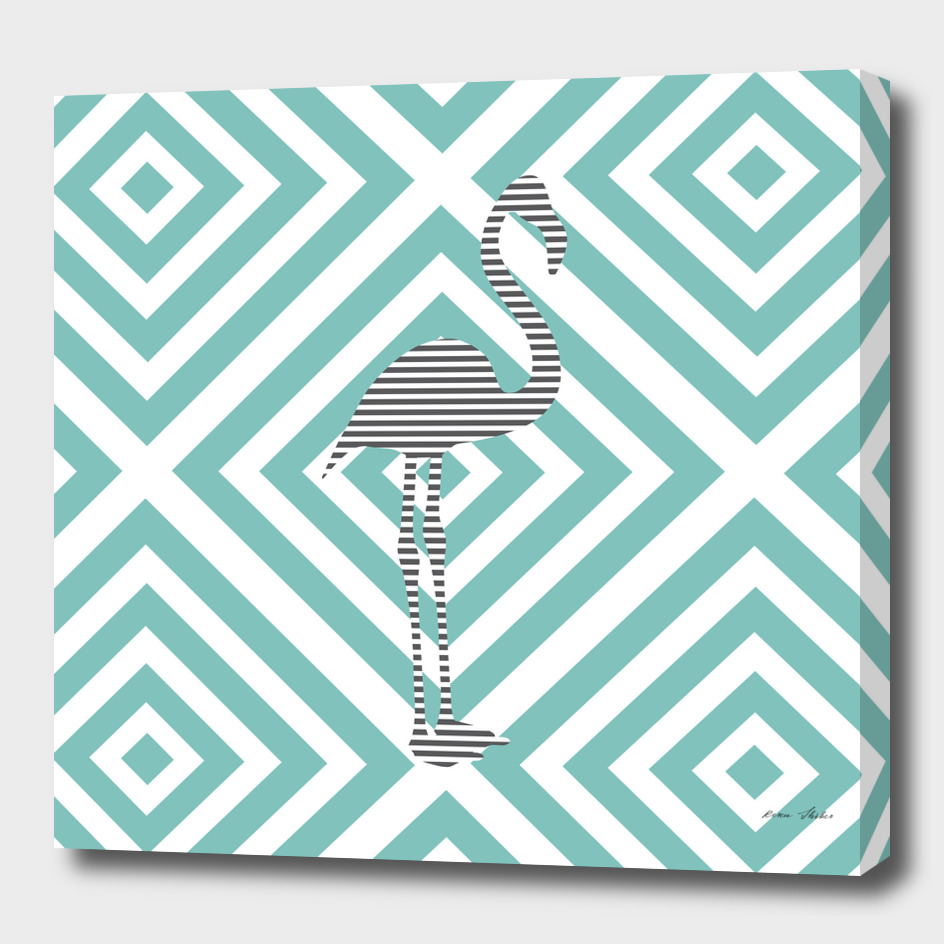 Flamingo - abstract geometric pattern - blue and white.