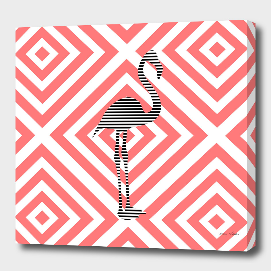 Flamingo - abstract geometric pattern - pink and white.
