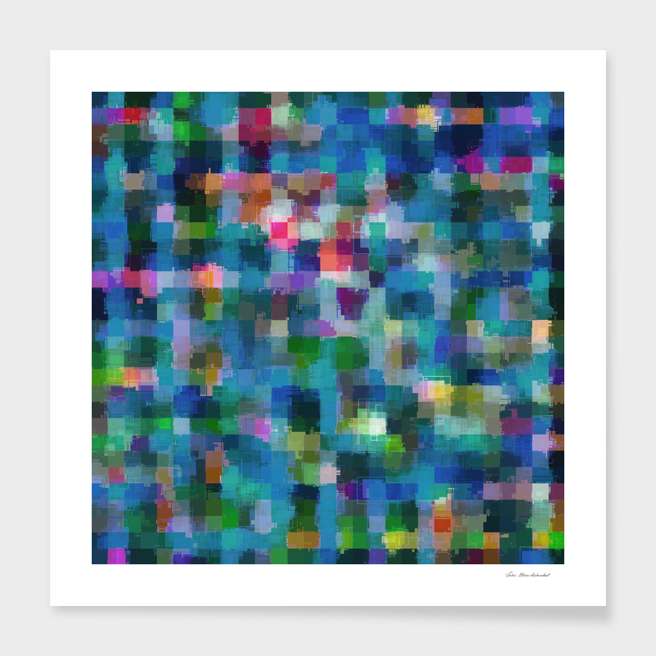 geometric square pixel pattern abstract in blue green