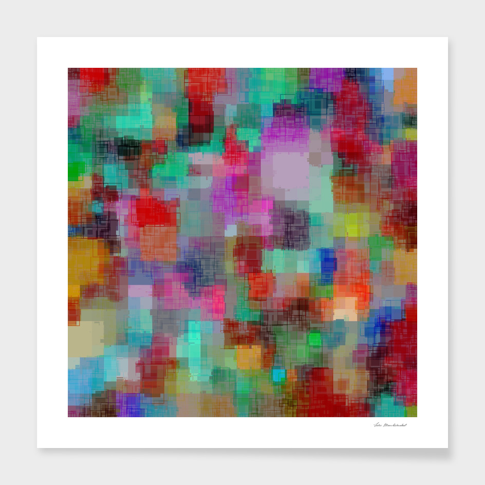 geometric square pixel pattern abstract in green blue red