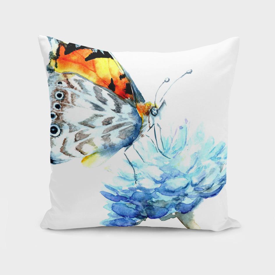 butterfly on a blue flower