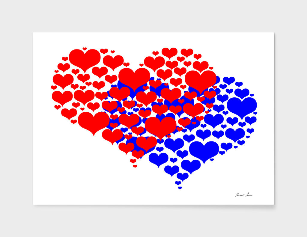 Two hearts blue and red