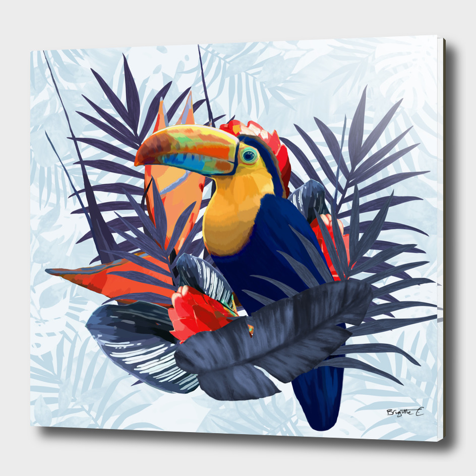 Tropical Blue Fresh Toucan Flowers Design