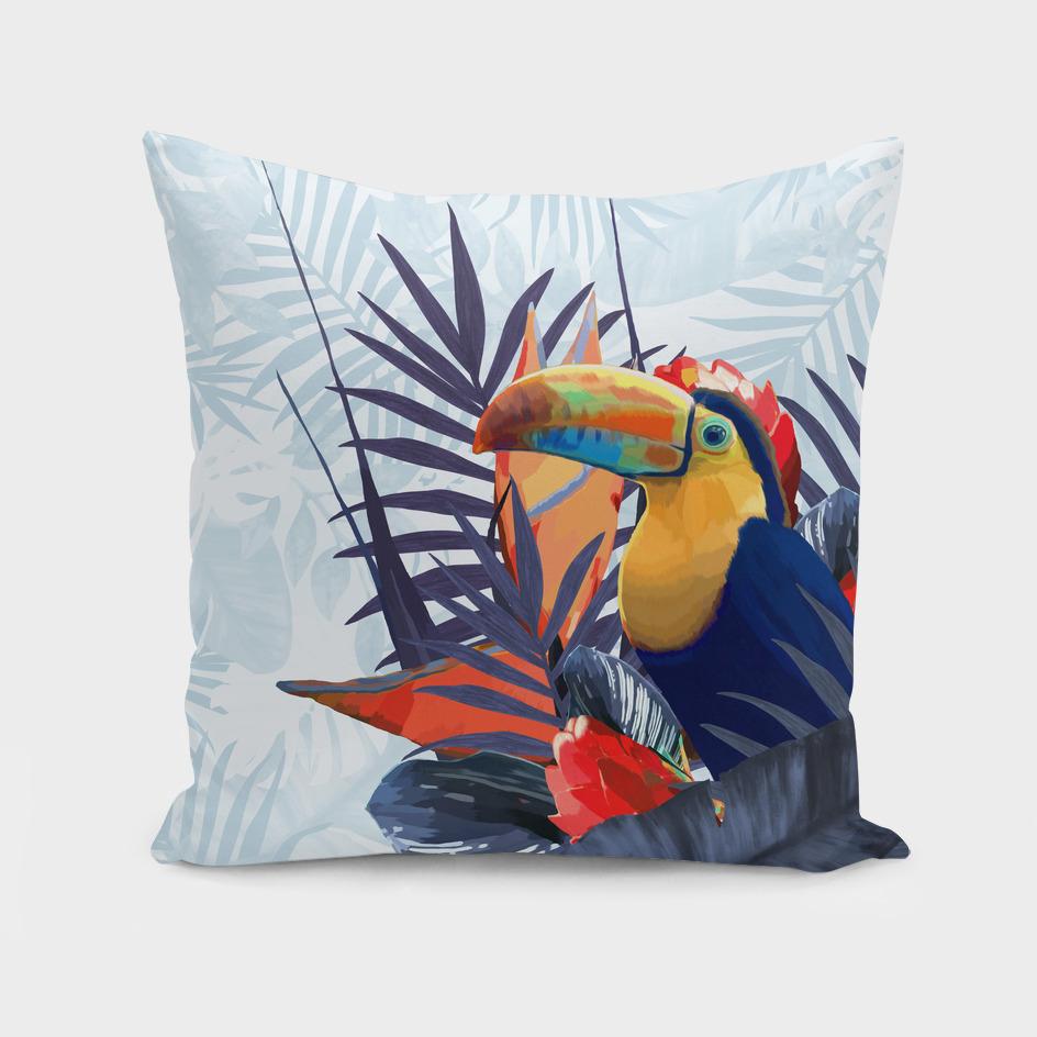 Tropical Blue Fresh Toucan Flowers Design