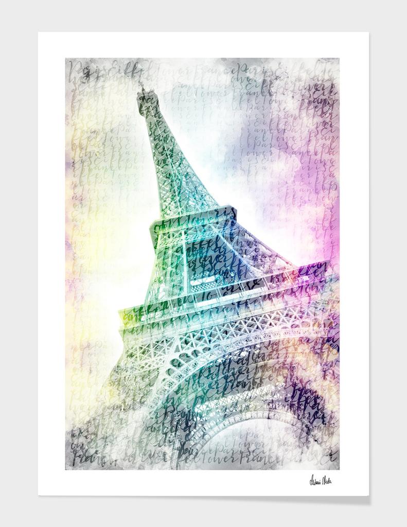PARIS Watercolor Eiffel Tower | rainbow-colored