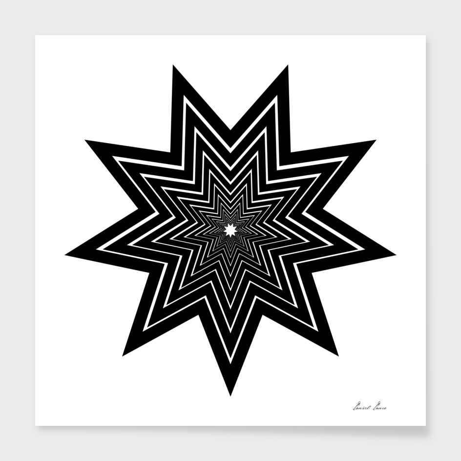 nine pointed star black abstract