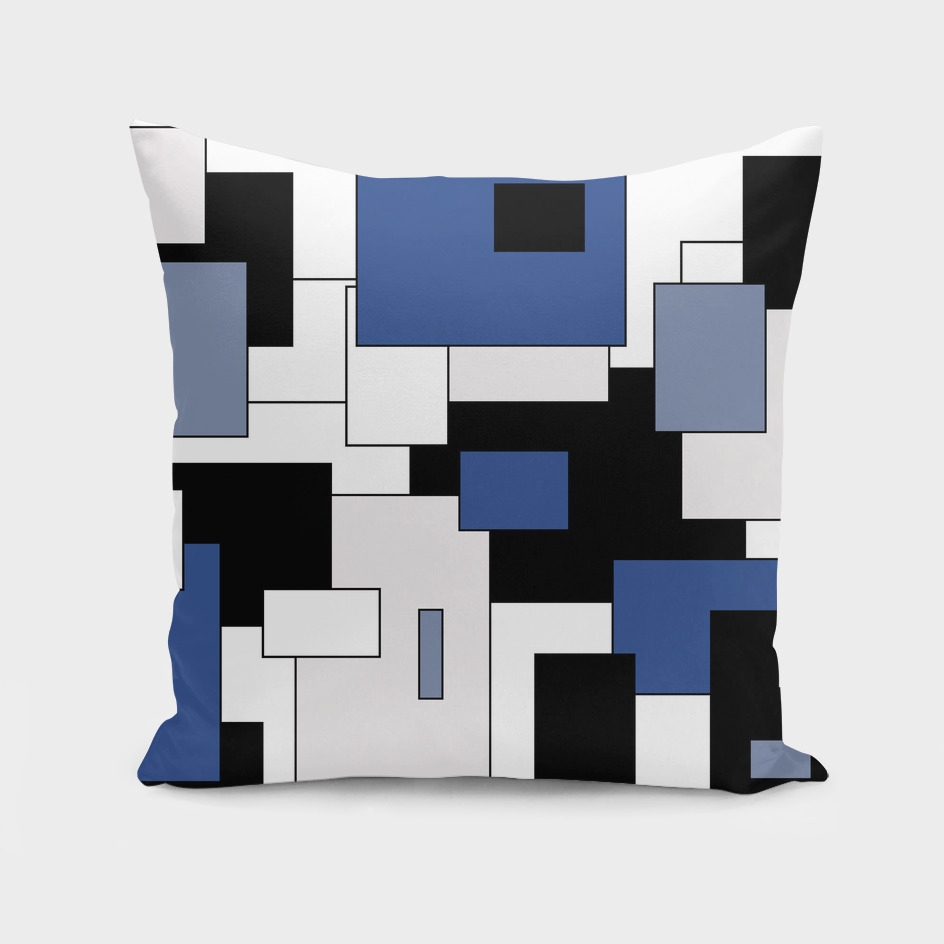 Abstract geometric pattern - blue, black and white.