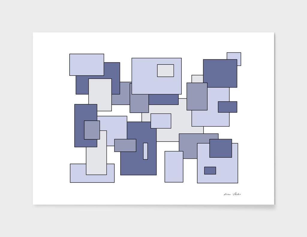 Abstract geometric pattern - blue.