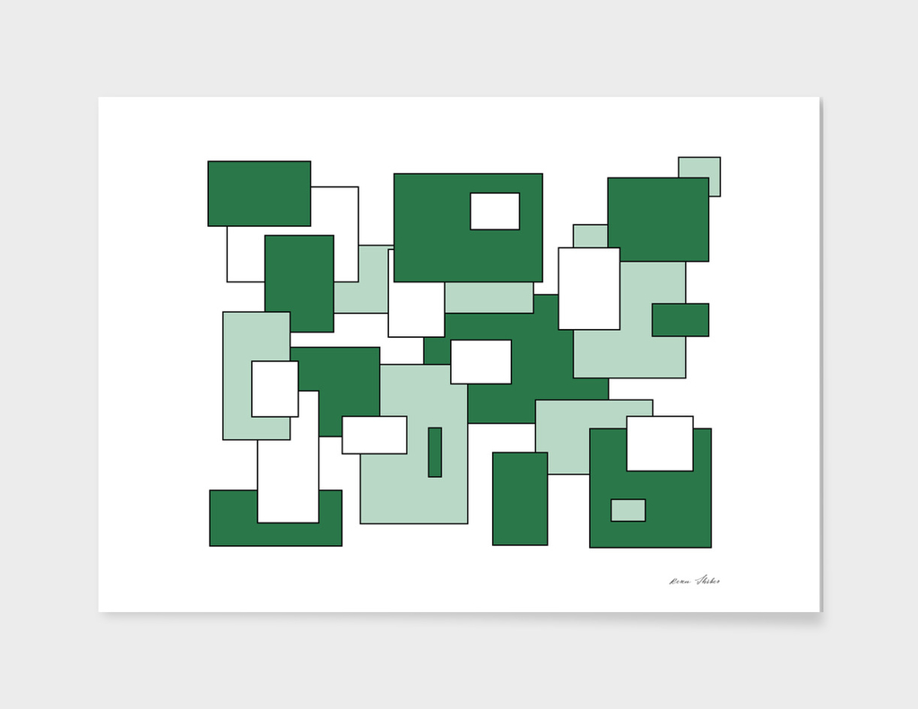 Abstract geometric pattern - green.