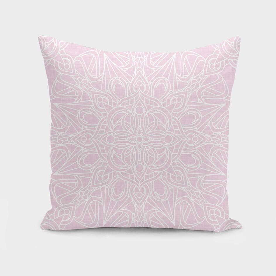 White Mandala on Pastel Pink Linen Textured Background