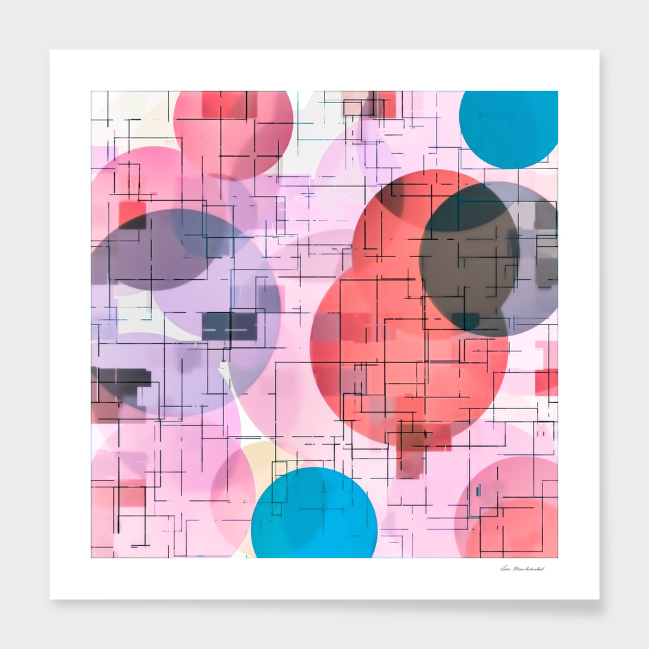 geometric square and circle pattern abstract in pink blue