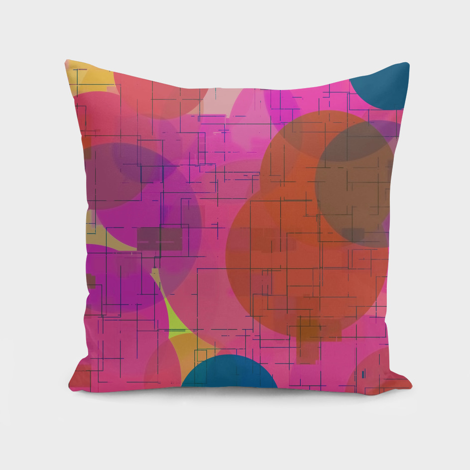 geometric square and circle pattern abstract in pink
