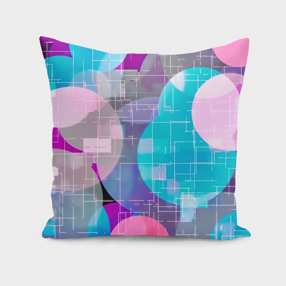 geometric square and circle pattern abstract in blue pink