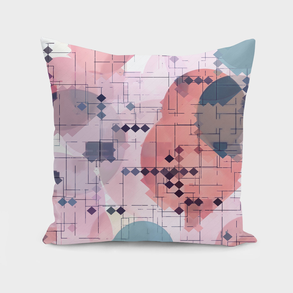 geometric square pattern with circle pattern in pink blue