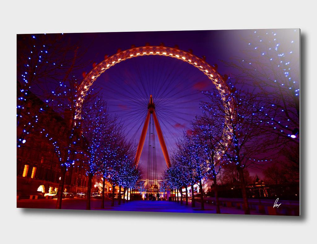 London Eye At Twilight Red Dusk