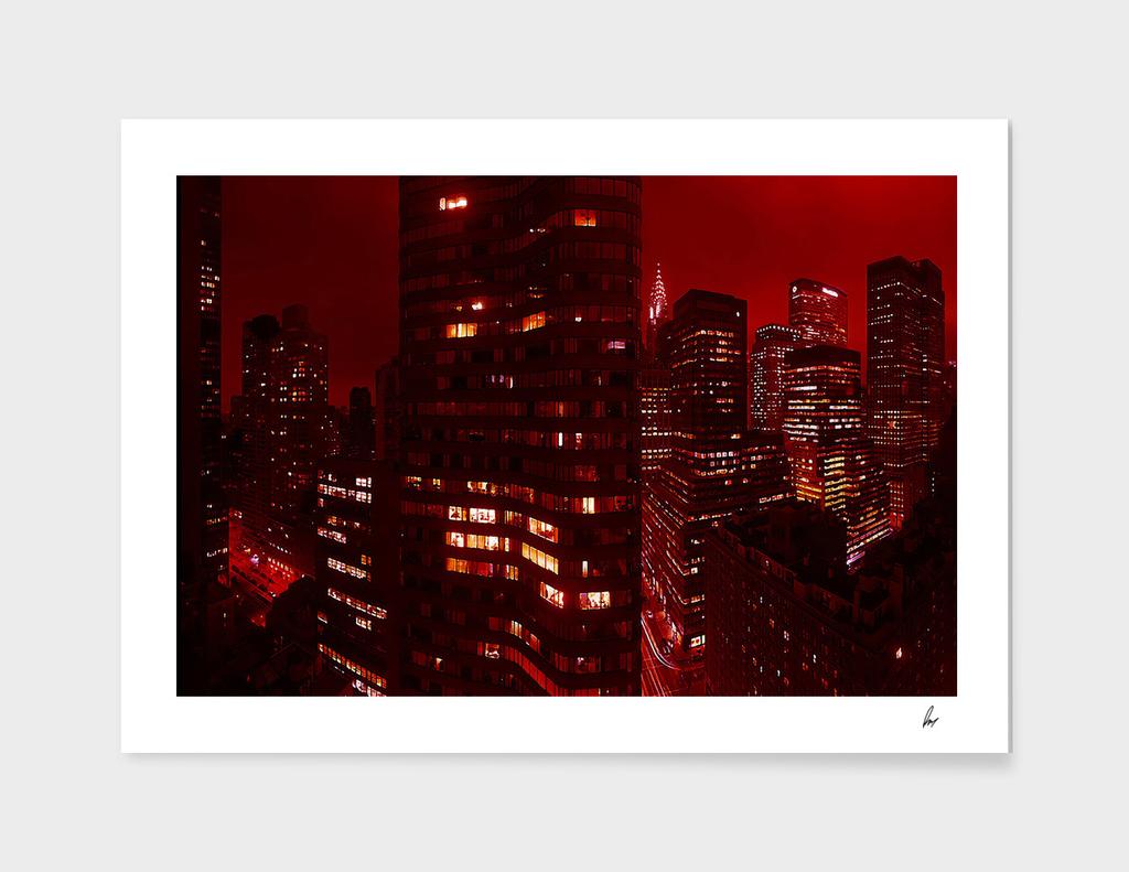 New York Red Sky Panorama