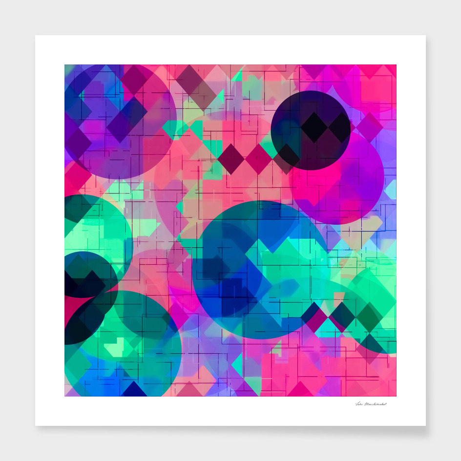 geometric square pixel and circle pattern in pink blue green