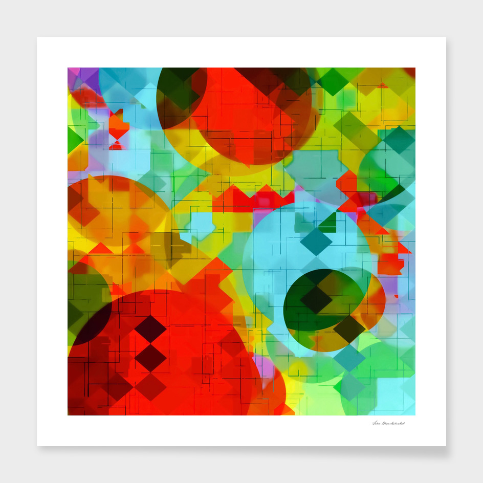 geometric square pixel and circle pattern in red blue yellow