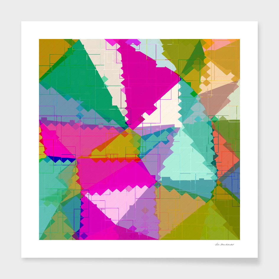 geometric square pixel and triangle pattern in pink green