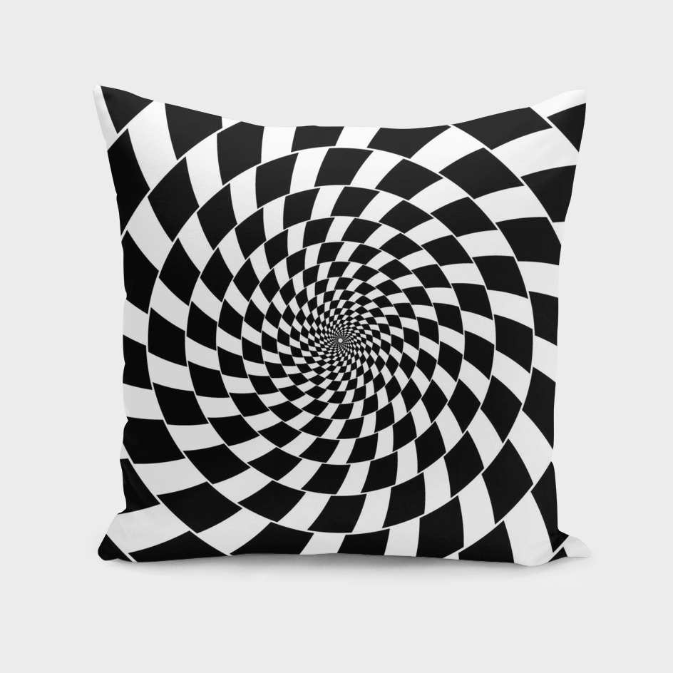 Optical illusion - chessboard swirl,
