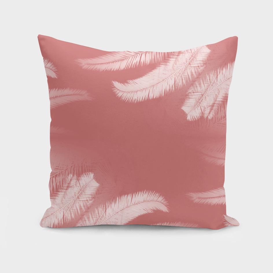 Palm leaves on cinnamon rose