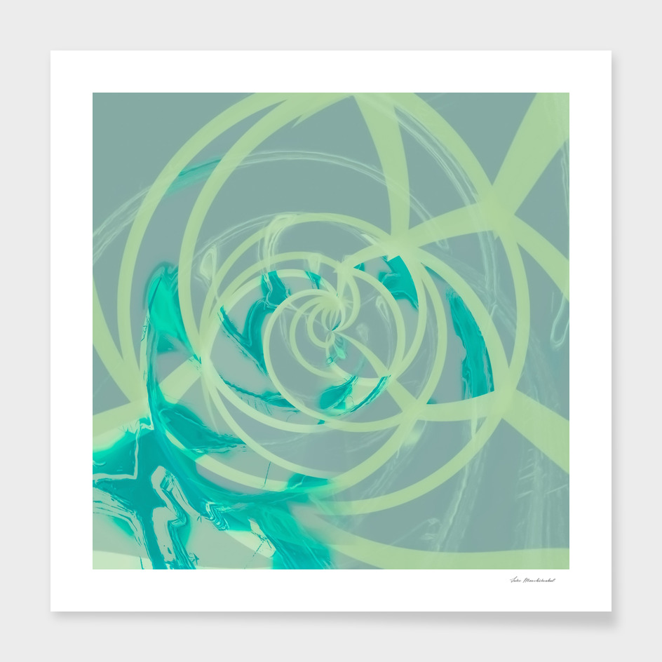 spiral line pattern painting texture abstract in blue green