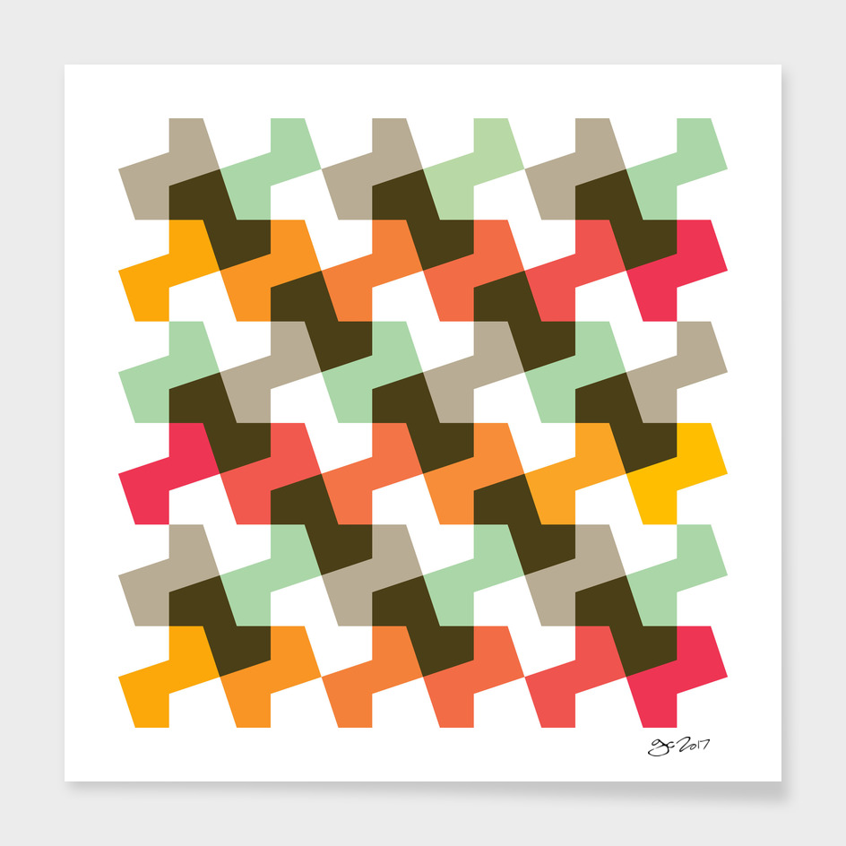 Geometric Pattern #56 (mint orange red)