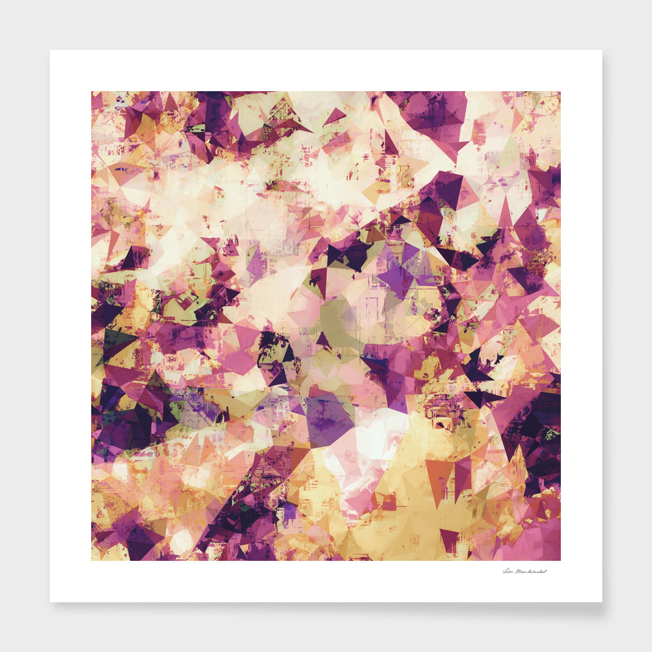 geometric triangle pattern abstract in pink blue yellow