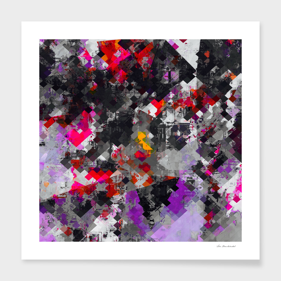 geometric square pixel pattern abstract in purple red black