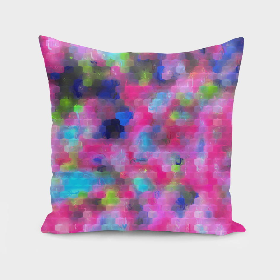 geometric square pattern abstract background in pink blue