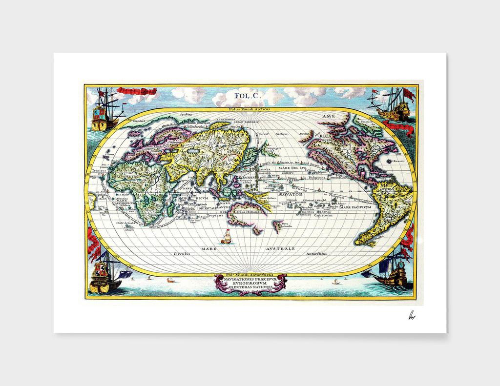 Colourful Latin World Map