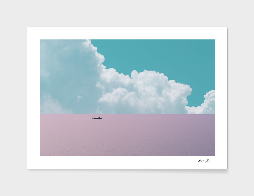 Abstract minimalist scenic view of calm sea with boat