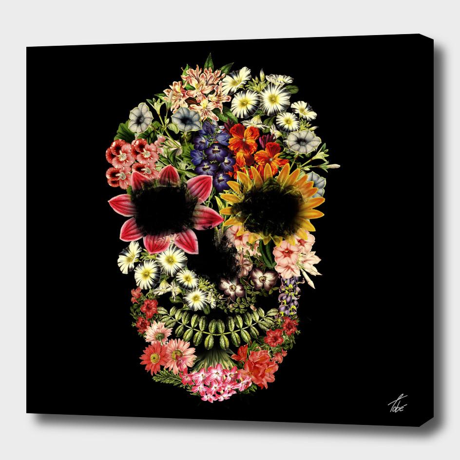 Floral Skull Vintage Black