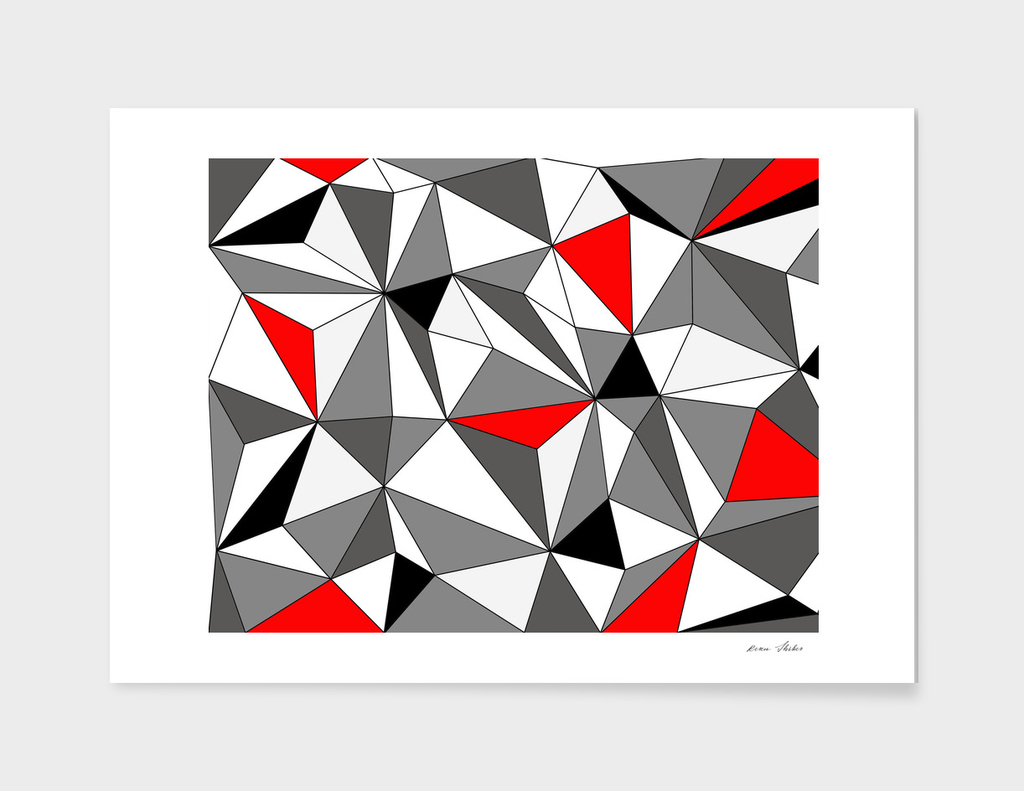 Abstract geometric pattern - red, gray, black and white.